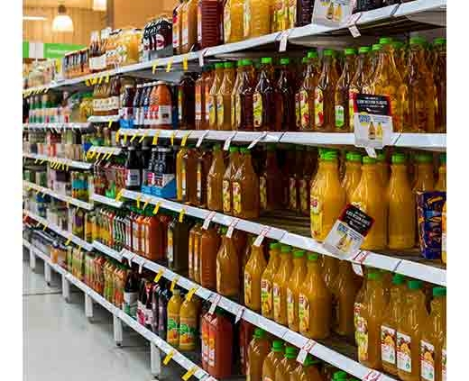 juice aisle at grocery store
